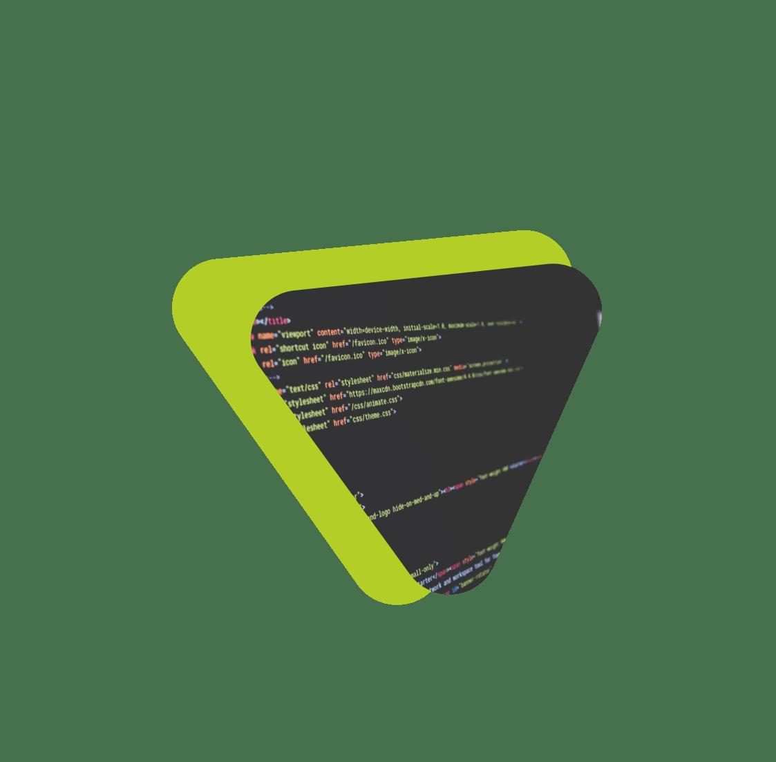 Triangulo con fotografía con códigos de programacion